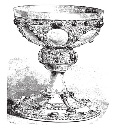 by remi: Chalice of St. Remi, vintage engraved illustration. Industrial encyclopedia E.-O. Lami - 1875. Illustration