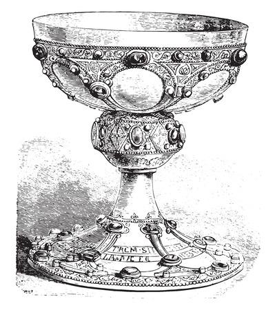 goblet: Chalice of St. Remi, vintage engraved illustration. Industrial encyclopedia E.-O. Lami - 1875. Illustration