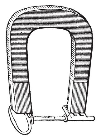 iman: Imán, ilustración de la vendimia grabado. Diccionario de palabras y las cosas - Larive y Fleury - 1895.