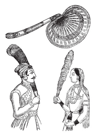 hindues: Fan hindúes, ilustración de la vendimia grabado. E.-O. enciclopedia Industrial Lami - 1875.