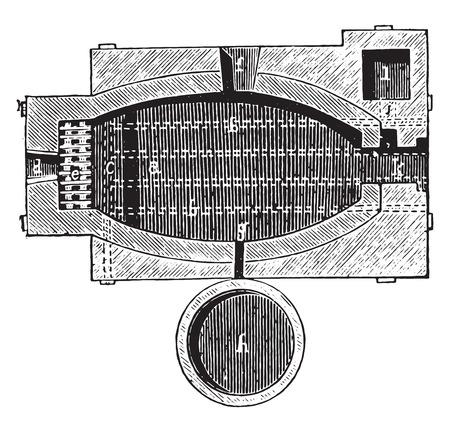 furnace: Reverberatory furnace, vintage engraved illustration. Industrial encyclopedia E.-O. Lami - 1875. Illustration