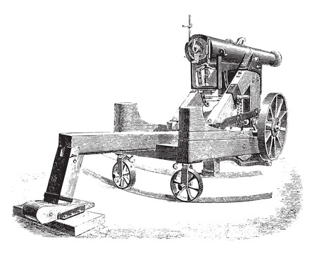 lookout: Cannon 138mm on modified square lookout, vintage engraved illustration. Industrial encyclopedia E.-O. Lami - 1875.
