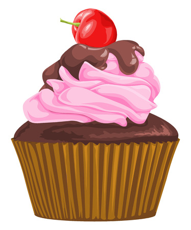 Vector illustration of chocolate cupcake with cherry.