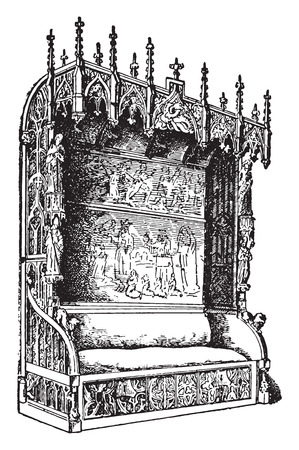 furnish: Castle room bench, of Gothic style, late fifteenth century, vintage engraved illustration. Industrial encyclopedia E.-O. Lami - 1875.