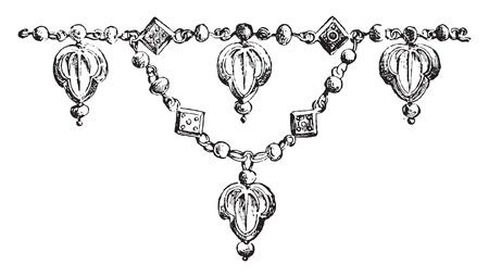 Fragment of necklace, vintage engraved illustration. Private life of Ancient-Antique family-1881.