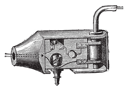 articulation: Articulation with tap, vintage engraved illustration. Industrial encyclopedia E.-O. Lami - 1875. Illustration