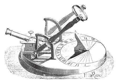 reloj de sol: Reloj de sol Horizontal, pedestal cañón, ilustración de la vendimia grabado. E.-O. enciclopedia Industrial Lami - 1875.