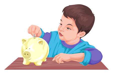 inserting: Vector illustration of boy inserting coin in piggy bank.