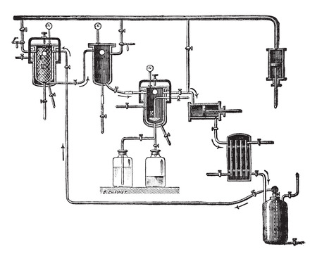 distillery: Apparatus for extracting perfumes, vintage engraved illustration. Industrial encyclopedia E.-O. Lami - 1875.