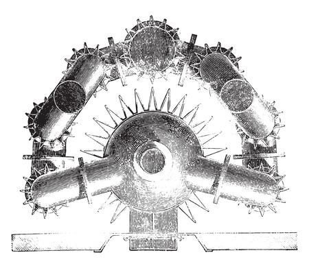 fins: Map of hollow furnace fins, vintage engraved illustration. Industrial encyclopedia E.-O. Lami - 1875.