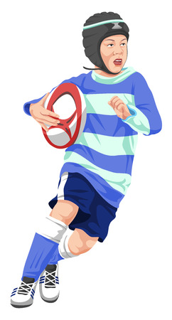 Vector illustration of teenage boy playing rugby.
