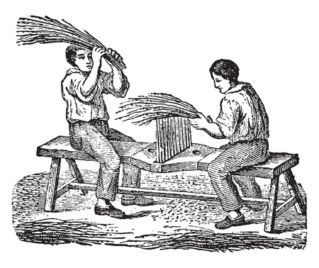 Workers fingering flax comb, vintage engraved illustration. Industrial encyclopedia E.-O. Lami - 1875.