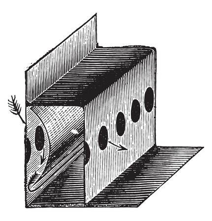 Arrival holes for air in the Northern lanterns, vintage engraved illustration. Industrial encyclopedia E.-O. Lami - 1875. Illustration