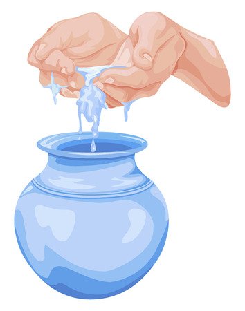 Vector illustration of cupped hands pouring water into pot. Vectores
