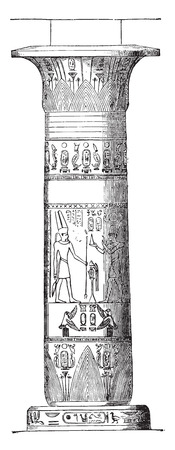Column of Thebes, vintage engraved illustration. Industrial encyclopedia E.-O. Lami - 1875.