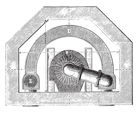 Wide of basement furnace, vintage engraved illustration. Industrial encyclopedia E.-O. Lami - 1875. Illustration