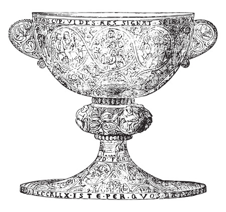 Chalice late twelfth century, silver gilt and decorated with niello figures, vintage engraved illustration. Industrial encyclopedia E.-O. Lami - 1875. Stock Illustratie