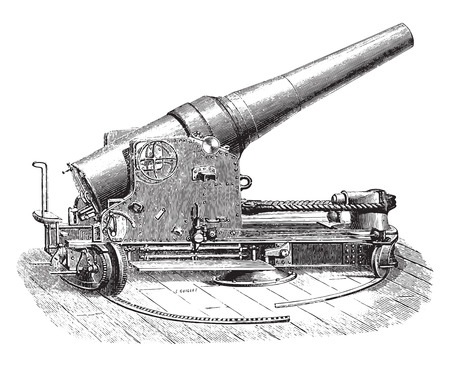 e 27: Chassis tuned half-turret gun 27 degree, vintage engraved illustration. Industrial encyclopedia E.-O. Lami - 1875. Illustration