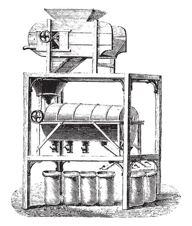 blower: Blower Screener coffee divider, vintage engraved illustration. Industrial encyclopedia E.-O. Lami - 1875.
