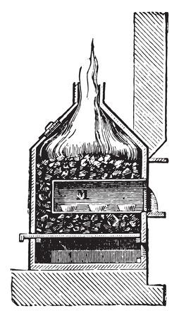 furnace: Cupellation furnace, vintage engraved illustration. Industrial encyclopedia E.-O. Lami - 1875. Illustration