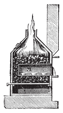 Cupellation furnace, vintage engraved illustration. Industrial encyclopedia E.-O. Lami - 1875. Illustration