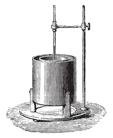 Black calorimeter, vintage engraved illustration. Industrial encyclopedia E.-O. Lami - 1875.