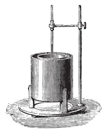 Black calorimeter, vintage engraved illustration. Industrial encyclopedia E.-O. Lami - 1875.