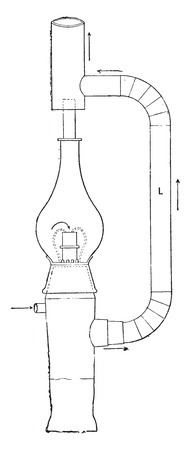Exterior view of the intensive burner MF Siemens, vintage engraved illustration. Industrial encyclopedia E.-O. Lami - 1875.