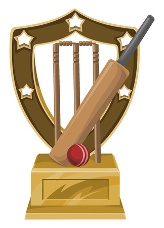cricket stump: Vector illustration of trophy with cricket bat, ball and stump. Illustration