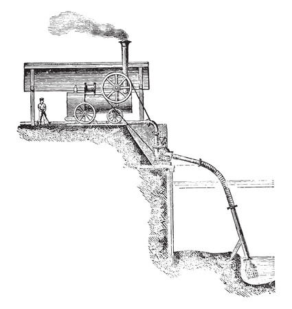 drainage: Pump applied to an exhaustion work, vintage engraved illustration. Industrial encyclopedia E.-O. Lami - 1875.