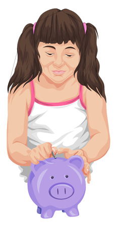 inserting: Vector illustration of girl saving coin in piggy bank. Illustration