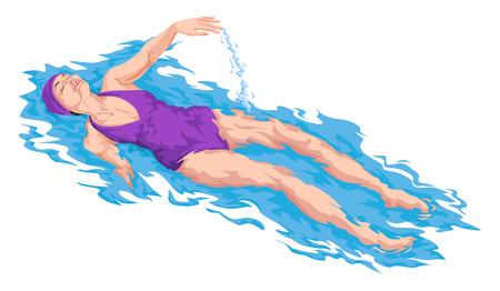nadar: Ilustración vectorial de la mujer nadando en la piscina.