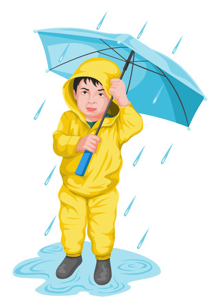 drizzle: Vector illustration of boy holding umbrella.