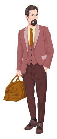 Vector illustration of businessman with luggage. Stock Illustratie