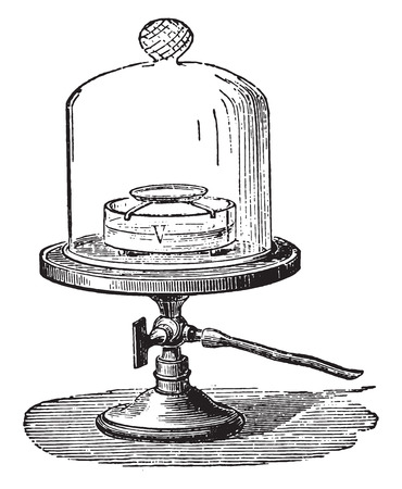 freezing: Leslie experience freezing of water in the vacuum, vintage engraved illustration. Industrial encyclopedia E.-O. Lami - 1875. Illustration