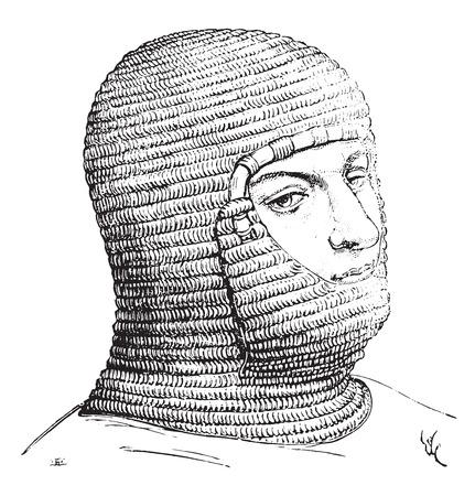 중세에서 군인의 코이프, 빈티지 새겨진 일러스트 레이션. 산업 백과 사전 E.-O. 라미 - 1875.
