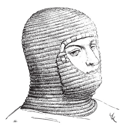 coif: Coif of the soldiers in the Middle Ages, vintage engraved illustration. Industrial encyclopedia E.-O. Lami - 1875. Illustration