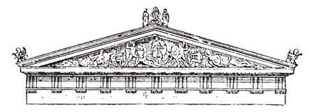 pediment: Acroterion, pediment of the temple of Aegina, vintage engraved illustration. Dictionary of words and things - Larive and Fleury - 1895.
