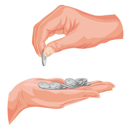 coin: Vector illustration of hands with coins