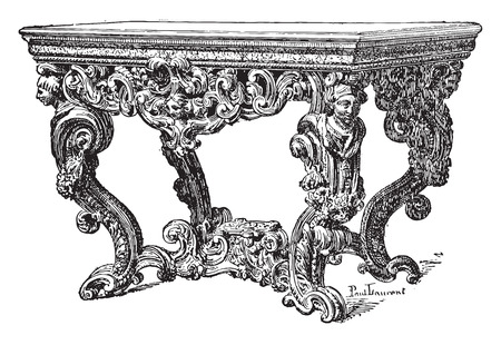 seventeenth: Table seventeenth century (National Furniture), vintage engraved illustration. Industrial encyclopedia E.-O. Lami - 1875.