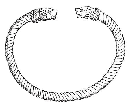 bracelet: Bracelet, vintage engraved illustration. Private life of Ancient-Antique family-1881.