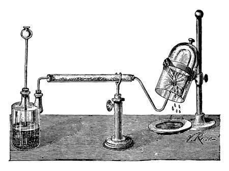 Synthetic water by the combustion of hydrogen, vintage engraved illustration. Industrial encyclopedia E.-O. Lami - 1875.