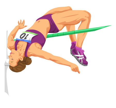 high: Vector illustration of woman doing high jump.