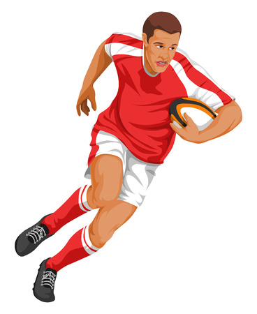 Vector illustration of rugby player running with ball. Vector Illustration