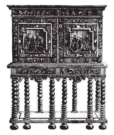 carving: Office furniture on credence table ebony sixteenth century (Hammer Museum in Stockholm, vintage engraved illustration. Industrial encyclopedia E.-O. Lami - 1875.
