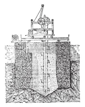 Foundation for hollow block, vintage engraved illustration. Industrial encyclopedia E.-O. Lami - 1875.  イラスト・ベクター素材