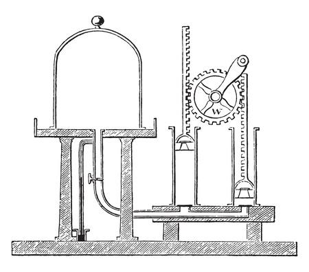 air pump: Air pump, vintage engraved illustration. Illustration
