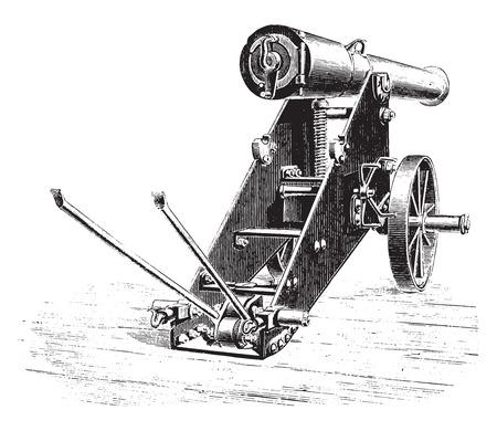 Cannon 138mm uprising lookout, vintage engraved illustration. Industrial encyclopedia E.-O. Lami - 1875.
