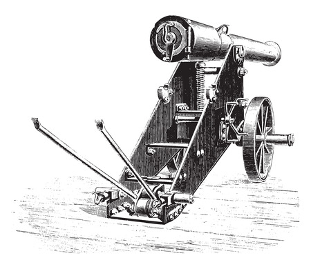 Cannon 138mm uprising lookout, vintage engraved illustration. Industrial encyclopedia E.-O. Lami - 1875.