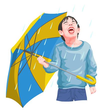 Vector illustration of boy enjoying rainfall. 일러스트